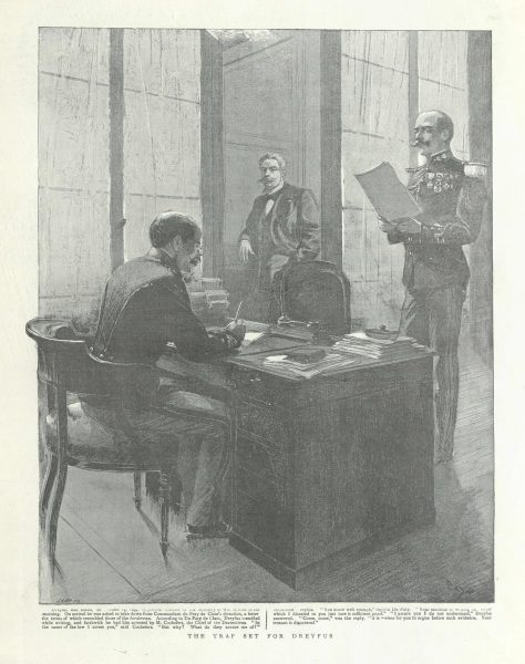 "The Trap set for Dreyfus​ ""Dreyfus the Martyr"", The Graphic London, 1899 National Library of Israel"