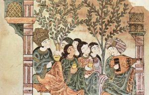 """""""מג'ליס"""", משתה באנדלוסיה. איור ערבי מהמאה ה-12"""
