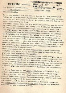 העתק העמוד הראשון ממכתבו של הגנרל ניקולאוס פון פלקנהורסט לחייליו, כפי שזה מופיע בחוברת שפרסמה הממשלה הבריטית, מאוספי הספרייה הלאומית