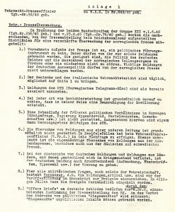 A facsimile of a German document which details how the Norwegian press ought to be handled under the military occupation, as it appears in the booklet, from the National Library collections.