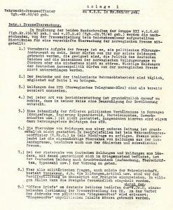 העתק של מסמך גרמני המפרט כיצד יש להתייחס לעיתונות הנורווגית תחת הכיבוש הנאצי, כפי שזה מופיע בעלון, מאוספי הספרייה הלאומית