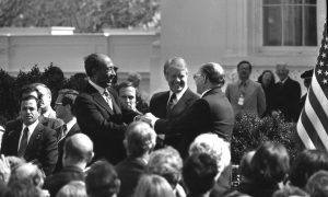 The handshake following the signing of the Egypt-Israel Peace Treaty - From the Dan Hadani Archive, National Library of Israel [Photo Credit - Dan Hadani]