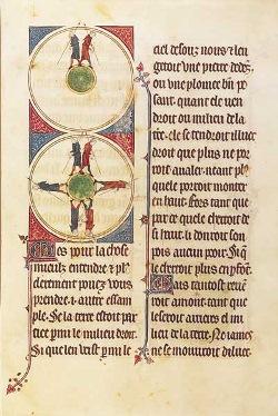איור מאחד מכתבי היד של Image du Monde מול ספרו המודפס של Caxton