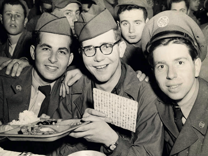 Soldiers celebrating Passover in Seoul, South Korea, 1952. Photo courtesy of the American Jewish Historical Society.