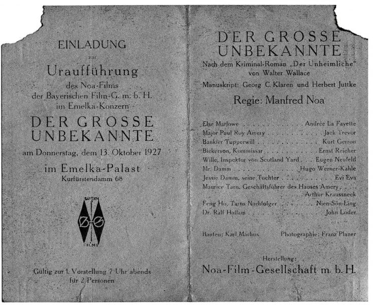 The invitation to the premiere, including the names of the actors and their parts