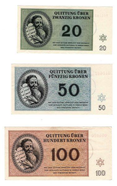 שטרות עם ערך נומינלי גבוה, ללא סימני שימוש: 20, 50 ו-100 קרונות, מהצד האחורי, כולל אילוסטרציה של משה רבנו עם לוחות הברית