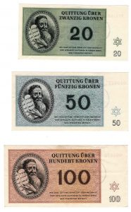"""Bills of a high nominal value. These show no signs of use. In this image we see the back side of the bills, featuring an illustration of Moses with the tablets of the covenant. Tellingly, """"Thou shalt not kill"""" and the other ethical commandments are hidden from view."""