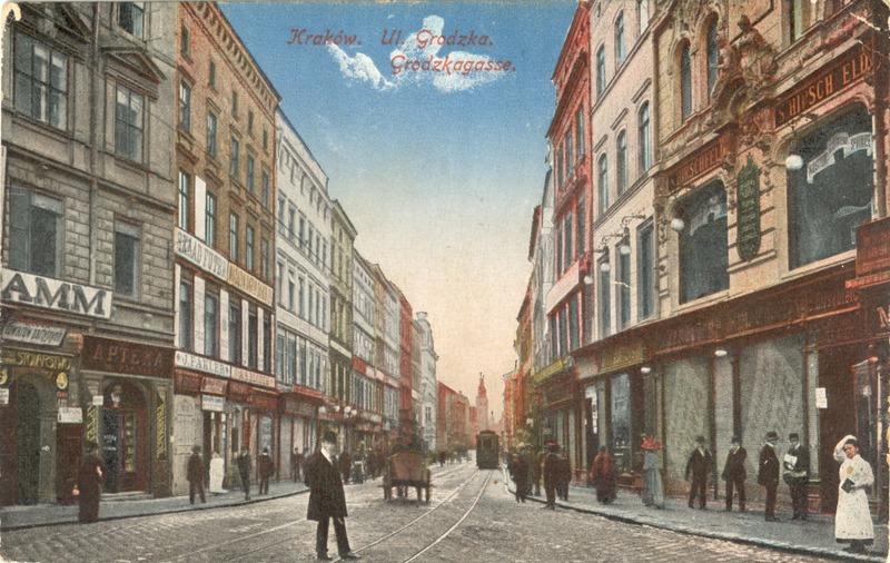 רחוב בקרקוב לפני 1915, גלויה מהמרכז לחקר הפולקלור, האוניברסיטה העברית
