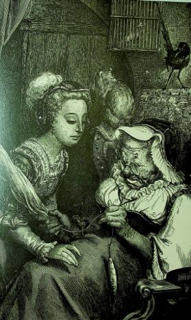 """""""אֲנִי טוֹוָה בַּפֶּלֶךְ, יַלְדָּתִי הַיָָּפָה."""" היפהפיה הנרדמת מתפתה לטוות ונדקרת – מהדורה של הספר משנת 1864, עם ציוריו של גוסטב דורה"""