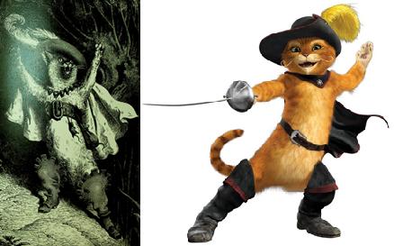 """מימין: החתול של שרק משמאל: """"הַצִּילוּ! הַצִּילוּ! אֲדוֹנִי, הַמַּרְקִיז דֶּה קַרַבָּס, טוֹבֵעַ בַּנָּהָר!"""" החתול במגפיים – מהדורה של הספר משנת 1864, עם ציוריו של גוסטב דורה."""