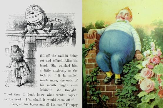 מימין: איור של המפטי דמפטי של פרו מתוך הספרMother Goose favorites : a selection of rhymes from Mother Goose משמאל: המפטי בארץ הפלאות