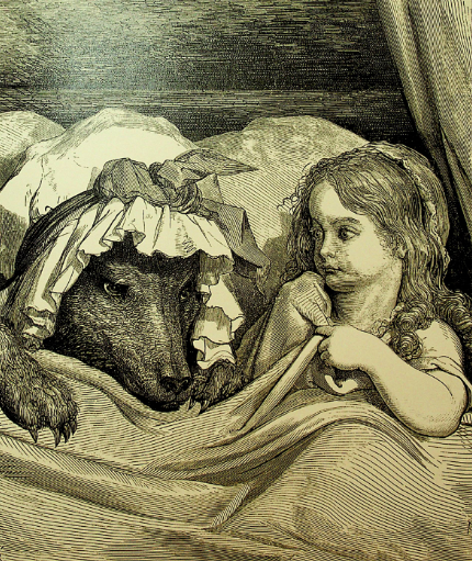 """""""סָבְתָא, אֵיזֶה עֵינַיִם גְּדוֹלוֹת יֵשׁ לָךְ!"""" כיפה אדומה והזאב – מהדורה של הספר משנת 1864, עם ציוריו של גוסטב דורה"""