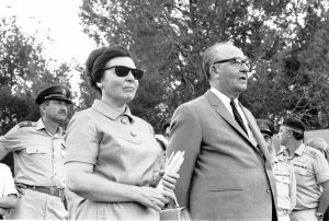 Israeli Prime Minister Levi Eshkol with his wife Miriam, 1968. Photo by Dan Hadani, the Dan Hadani Collection at the National Library