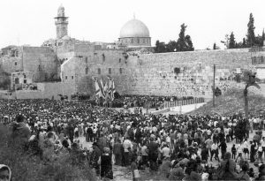 Thousands gather at the western wall during Jerusalem Day celebrations in 1969. Photo by Jacob ELbaz, the Dan Hadani Collection at the National Library