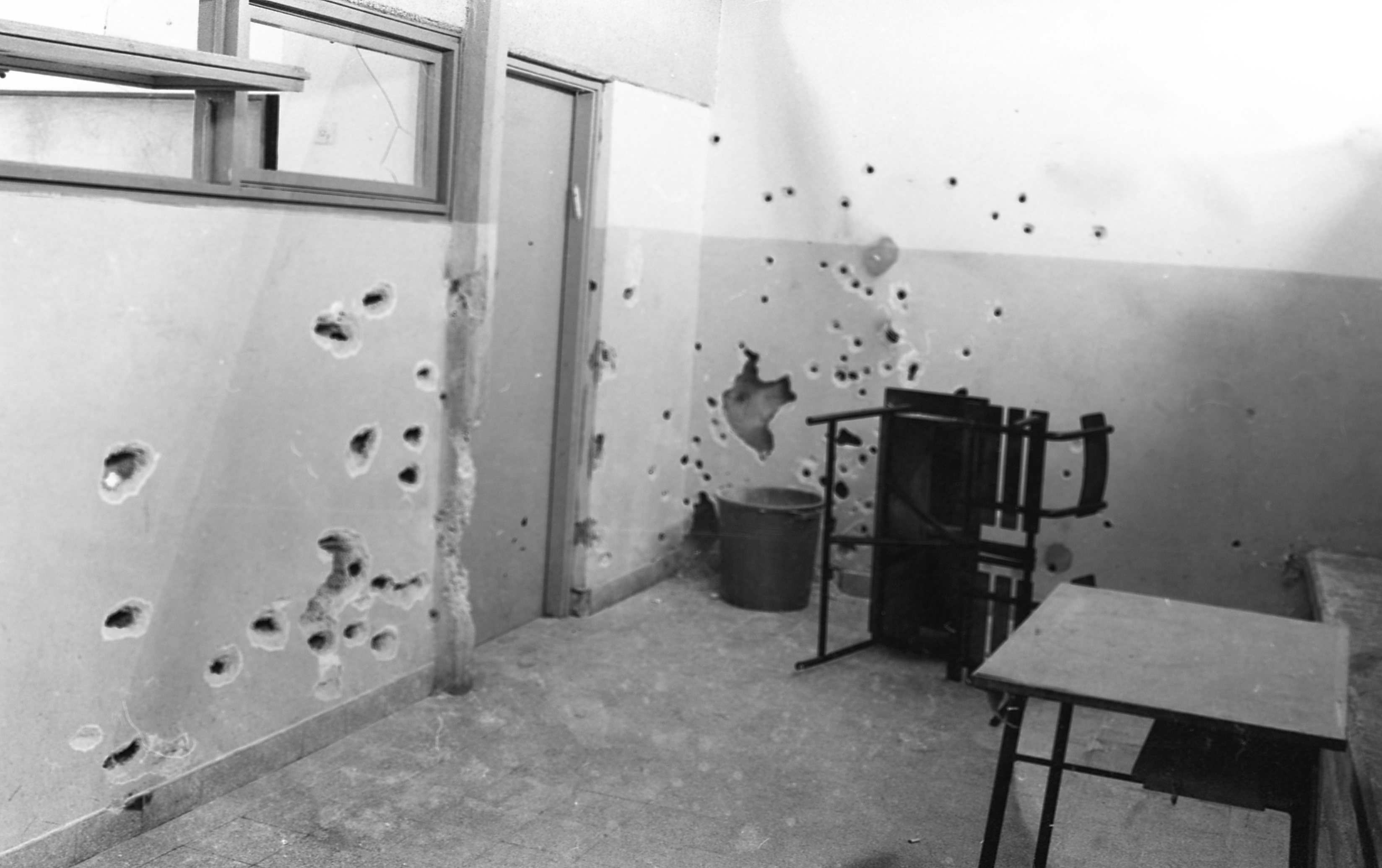 An Arab terrorist group attacked a school at Maalot killing several children and wounded thenth of them. IDF attacked the group killing the terrorists.Photo shows the classroom after the incident 1974/05/16 Copyright © IPPA 09240-001-31 Photo by IPPA Staff