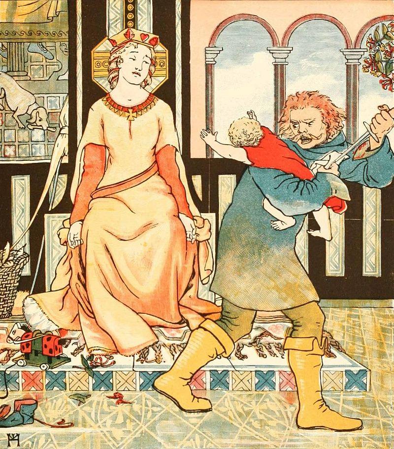 """גריזלדה מה""""דקאמרון"""" כאשר אחד מילדיה נלקח ממנה. איור של אלייזה הוואיס מתוך הספר 'Chaucer for Children' משנת 1882."""