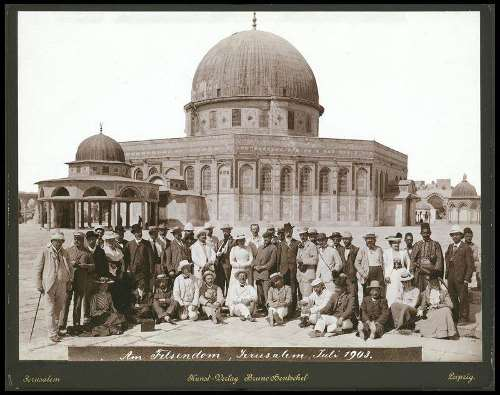 A group of German tourists visiting the Temple Mount, 1903.