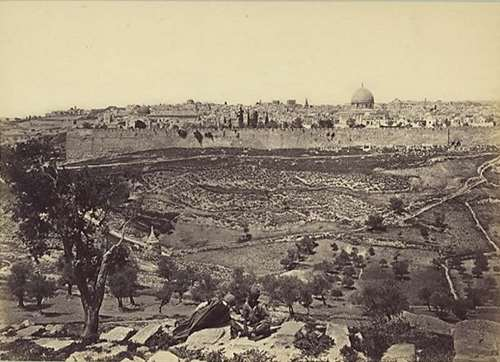 A view of Jerusalem from the Mount of Olives, photo: Frank Mason Good, 1875. Click to enlarge.
