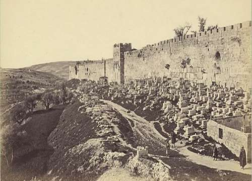 The eastern wall and the Golden Gate, photo: Frank Mason Good, 1875. Click to enlarge.