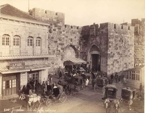 The Jaffa Gate, towards the end of the 19th-century, photo: Bonfils House