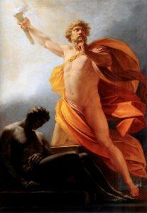 """""""פרומתאוס מביא את האש לבני האדם"""", ציור מעשה ידי היינריך פוגר. 1817"""