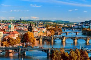 The famous bridges over the River Vltava, Prague.