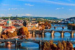 The famous bridges over the River Vltava, Prague.