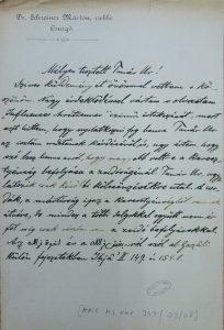 מכתב מאת מרטין שריינר אל יצחק גולדציהר