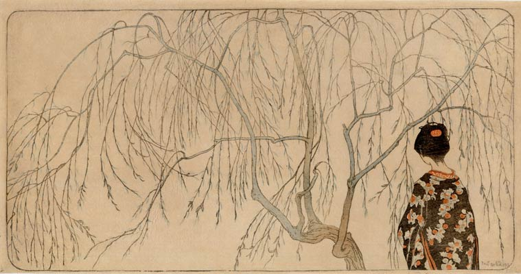 Emil Ulrich, Japanese girl standing beneath a willow tree, 1901