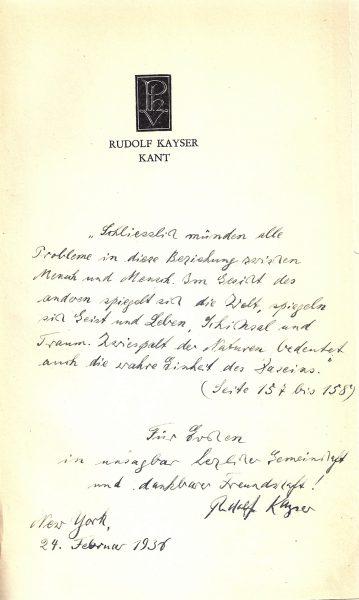הקדשה אישית של קייזר בספרו על הפילוסוף עמנואל קנט לאווה, לימים אשתו השנייה, 1936