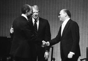 Photo by Dan Hadani: Anwar Sadat, Jimmy Carter and Menachem Begin following the signing of the peace treaty between Israel and Egypt, 1979, the Dan Hadani Collection, the Pritzker Family National Photography Collection