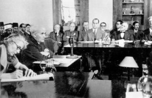 David Ben Gurion speaks before the Anglo-American Comittee of Inquiry. Photo courtesy of the David B. Keidan Collection of Digital Images at the Central Zionist Archives