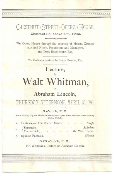כרזה המודיעה על הרצאה של ויטמן