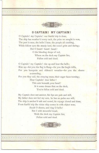 """""""הו רב חובל"""", שירו של ויטמן על רצח לינקולן"""