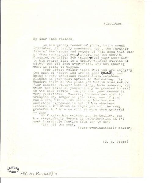 העתק מכתב של ארנשטיין לפלאדה משנת 1938