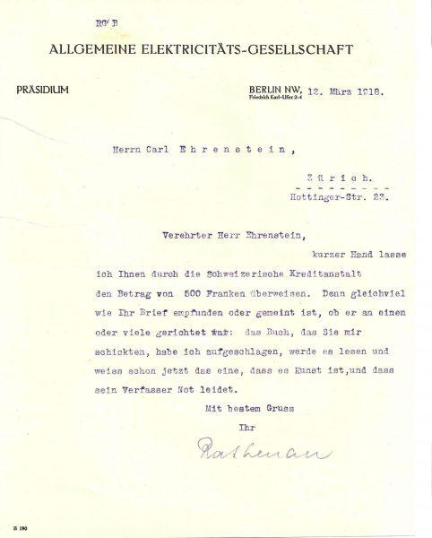 מכתב של רתנאו לארנשטיין משנת 1918