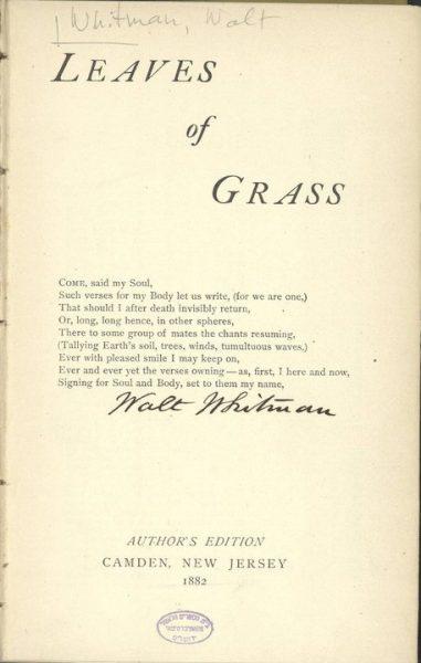 """עמוד הפתיחה של """"עלי עשב"""" בחתימת ידו של ויטמן"""