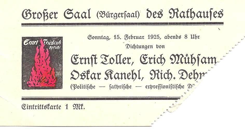 כרטיס כניסה לאירוע ספרותי אקספרסיוניסטי בברלין משנת 1925