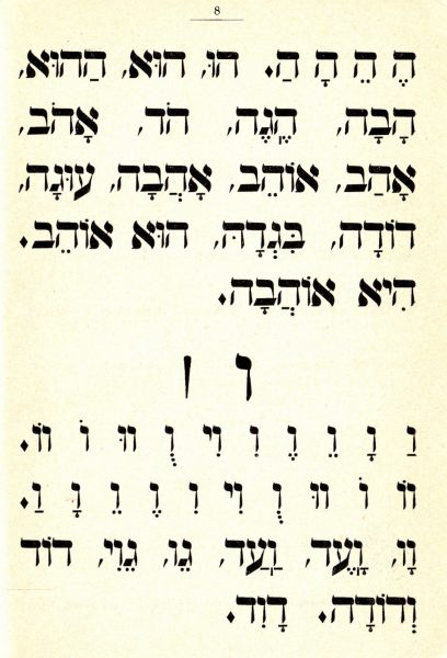 """דף לימוד מתוך """"אלף-בית"""", אברהם מרגליות, ריגה, 1907 (תרס""""ז)"""