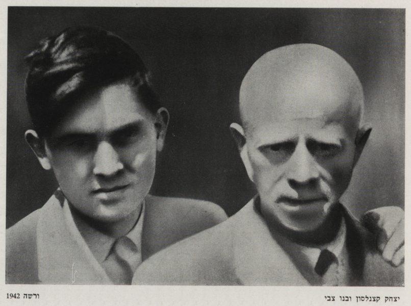 יצחק קצנלסון ובנו צבי, ורשה, 1942