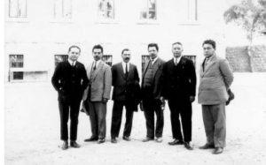 من اليمين: دوف قمحي، دافيد أبيشر، يهودا بورلي، يوسف يوئيل ريفلين، أفيعازر يلين، موشي كرمون