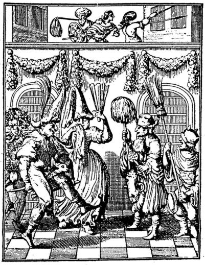 """""""הצגת מחזה-פורים"""", או """"שחקני פורים"""". זהו תחריט מפורסם משנת 1657 שנוצר בהולנד ומתאר את הצגת המגילה. השחקנים משתמשים בכלי בית שונים כמו מטאטא, מסננת ועוד."""