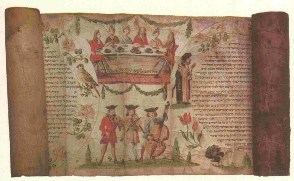 """כלי הזמר היו אף הם חלק חשוב בהצגת ה""""פורים שפיל"""". שימו לב לכלי הנגינה שבתמונה: זוהי מגילה מעוטרת על קלף שמקורה בגרמניה, במאה ה-18 (מאוסף מוזיאון ישראל)."""