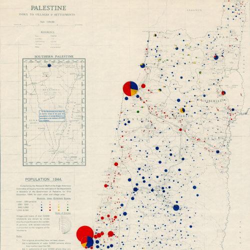 خارطة الكثافة السّكانية لفلسطين عام 1946، من إعداد هيئة مسح فلسطين البريطانيّة لاطّلاع اللّجنة خصّيصًا.
