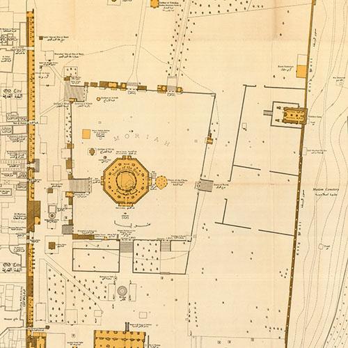 الحرم الشريف، خرائط مسح فلسطين، 1944، مجموعة عيران لئور، المكتبة الوطنية الإسرائيلية.